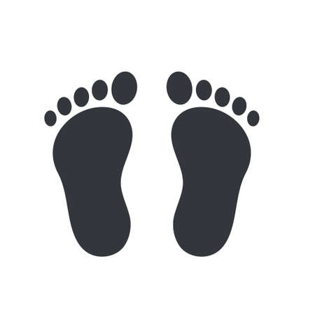 Footprints of people who do not wear walking shoes Travel concept. vector illustration.