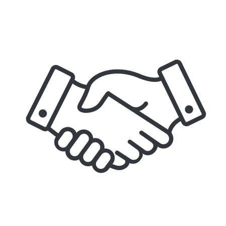 handshake Icon. Shaking hands is a symbol of greeting and business partnership.
