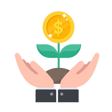 Caring for a financial tree that grows and yields dollar bills. Investment idea  イラスト・ベクター素材
