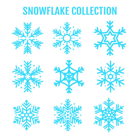Vector beautiful snowflake design collection For the winter season that comes with Christmas in the New Year. Standard-Bild - 157166476