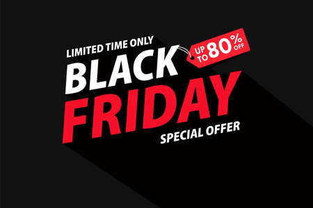 Simple BlackFriday text with a long shadow. For a weekend promotion. Illustration