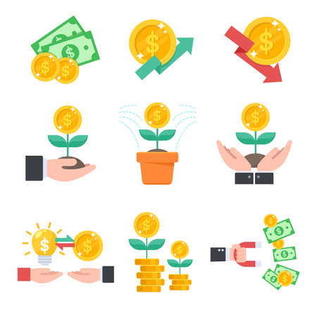 Investment icon. Managing your finances with investment is like planting a tree that yields a dollar's fruit.  イラスト・ベクター素材