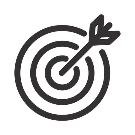 Target icon An arrow that is placed in the middle of the target. Business goal concept. Vettoriali
