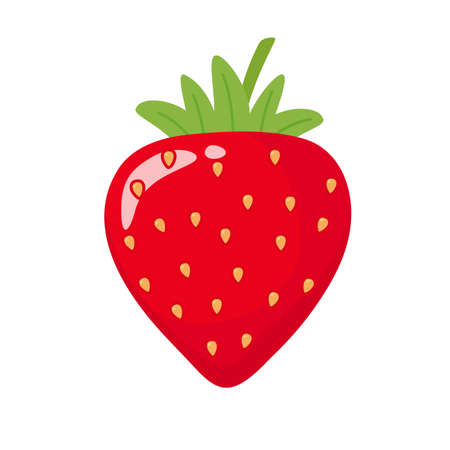 Vector cartoon strawberry red ball With green leaves on top Isolated on white background Health care concept