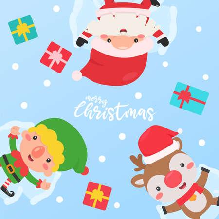 Santa Elf and Reindeer sleep in the snow with a gift box given to the children Vektoros illusztráció