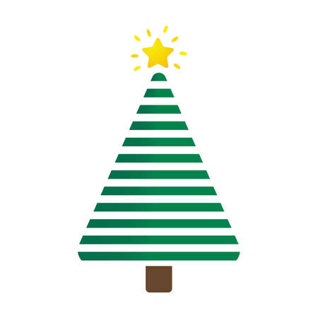 Christmas tree design decorated with colorful ball and star on top. Illustration