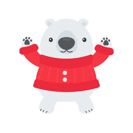 Cartoon white bear wearing red sweater is happy in winter christmas day Illustration