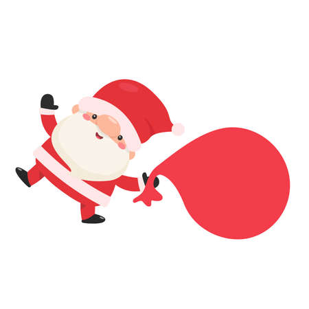 Cartoon santa carrying a bag of gifts to give to the kids for christmas Illustration