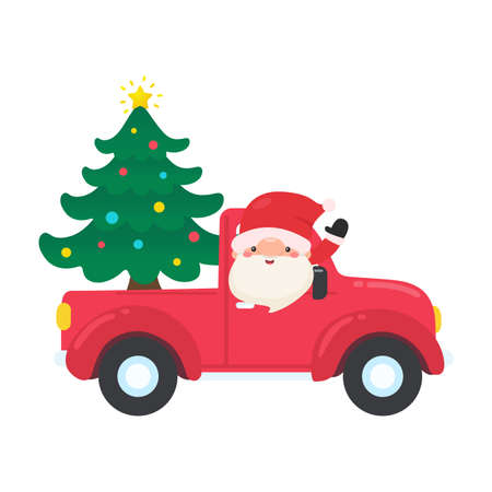 Cartoon Santa drives a red pickup truck to deliver the Christmas tree on Christmas Eve.