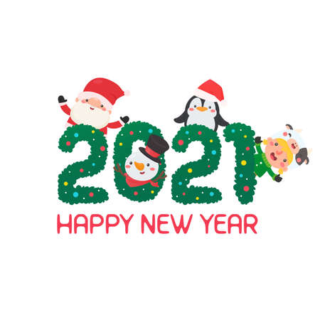 Christmas 2021 with cartoon characters Santa and friends celebrating. Illustration