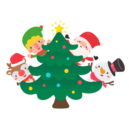 Santa Elf, Reindeer and Snowman Decorate the Christmas tree with colorful balls for Christmas day. Illustration