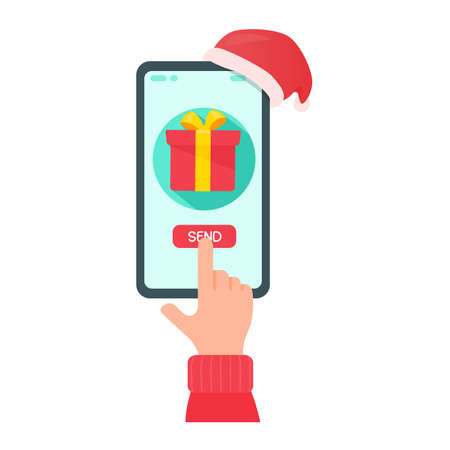 Mobile phone screen to press the button to send gifts to friends on Christmas. Illustration