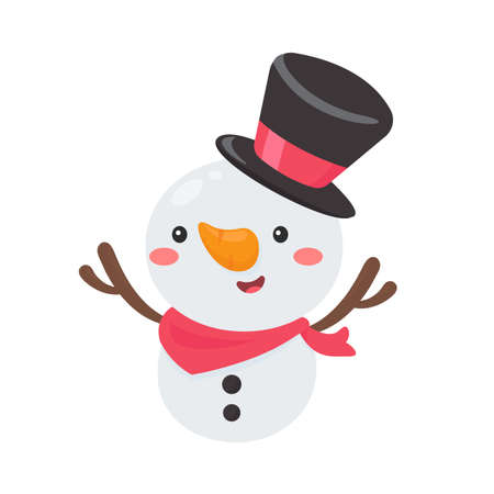 Cartoon snowman wearing a red scarf is happy for christmas.