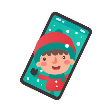 Cartoon children wearing winter clothes coming out of the mobile phone screen on christmas day Illustration