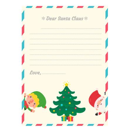 Letter to Santa. Children who write letters to Santa at Christmas Snowy winter. Ilustración de vector