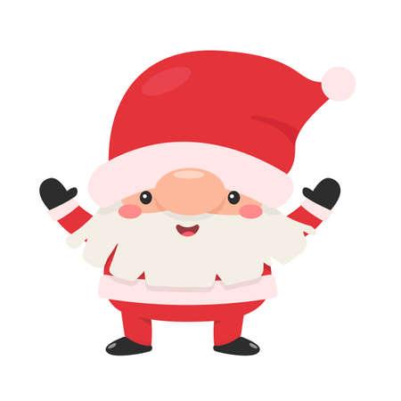 Cartoon Santa Raises Hands for Christmas