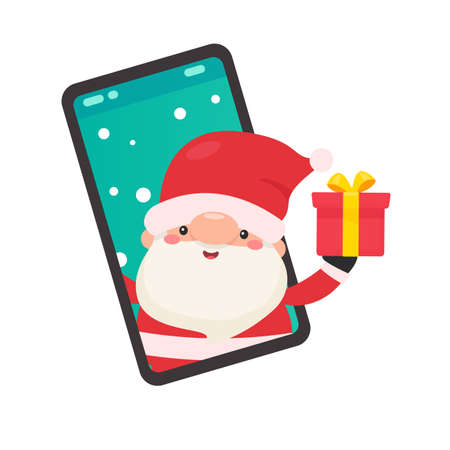 Cartoon santa holding a gift coming out of the mobile phone screen on christmas day