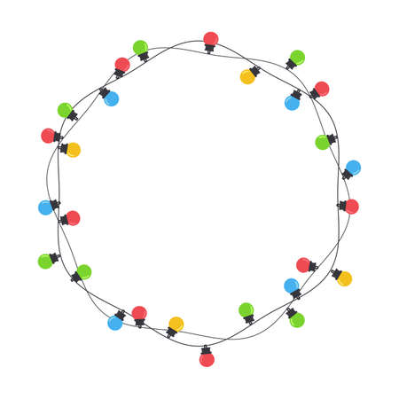 Christmas light bulbs. Colorful light bulbs for Christmas decoration. Isolated on white background. Illustration