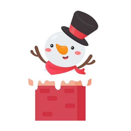 A cartoon of snowman wearing a red scarf emerges from a chimney on the roof on Christmas Day.