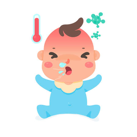 Cartoon baby Having a flu illness from a virus Make him feel hot Runny nose and cough Illustration