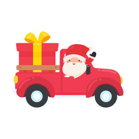 Cartoon santa driving a red pickup truck to send a big gift box on christmas eve Illustration
