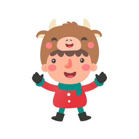 A cartoon child in a sweater playing in the snow at christmas