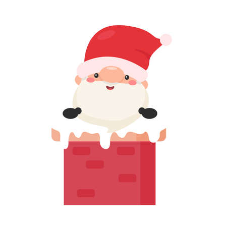 Cartoon Santa emerged from a chimney on the roof on Christmas Day. Illustration