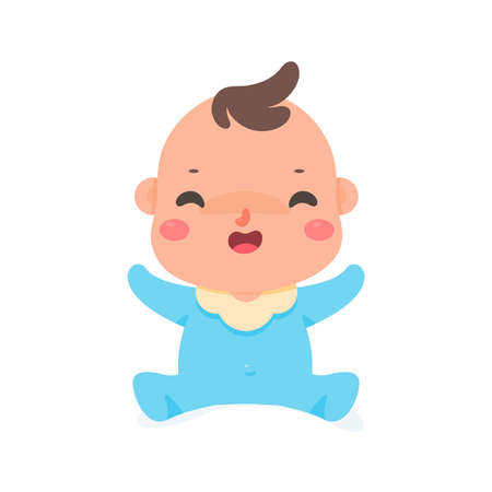 The cartoon little baby is smiling happily