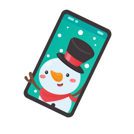 Cartoon snowman coming out of the mobile phone screen on christmas day Illustration