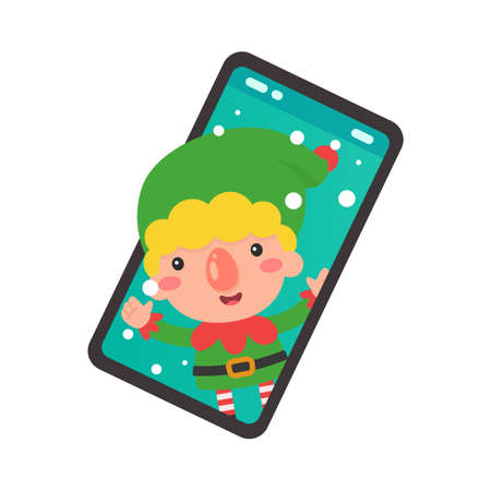 Cartoon elf coming out of the mobile phone screen on christmas day.