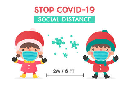 Boys and girls in winter clothing and masks warned of social distance during the winter of Christmas