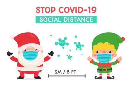 Santa and elf in winter clothing and masks warned of social distance during the winter of Christmas