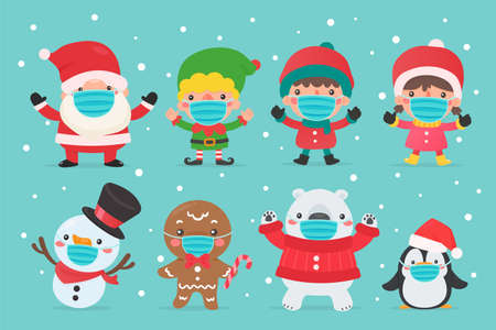 Santa elf Snowman and kids characters wearing winter masks and masks for Christmas. Illustration