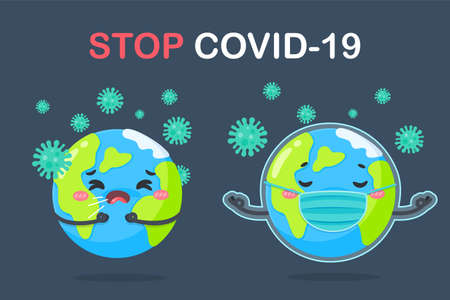 A cartoon globe wearing a mask The concept of quarantine in the home to prevent the coronavirus.