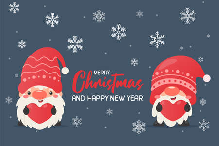 a gnome wearing a christmas hat Holding a red heart label Snowy winter at Christmas