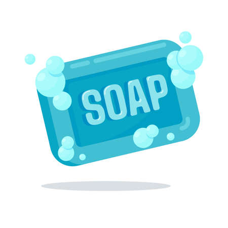 Bar soap with soap bubbles to wash your hands thoroughly to kill the coronavirus.
