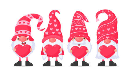 Dwarfs or gnomes hold pink heart balloons. For valentine's day greeting card