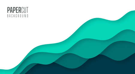 Simple 3d abstract background of green sea water waves Modern paper cut graphic design 일러스트