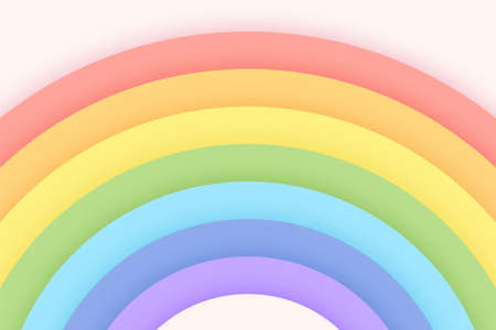 Pastel color rainbow background on a bright paper cut sky. Background concept for girls.