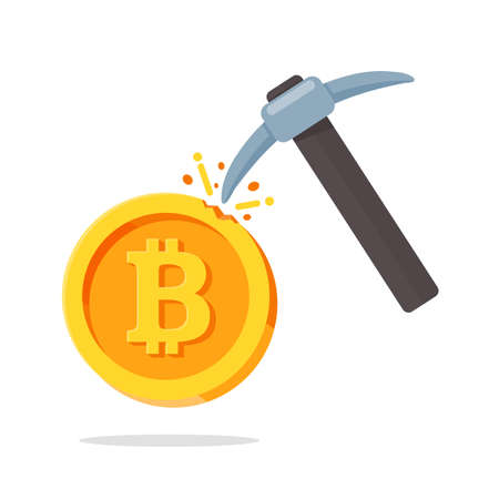 A shovel in a mine that is working by mining bitcon. Internet cryptocurrency for the future