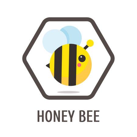 Cartoon bee simple black yellow bee design in honeycomb hexagonal frame