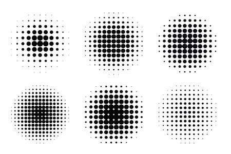 Pop art comic style gradient circle halftone set Vector isolated on white background