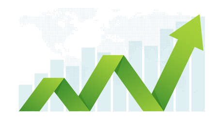 Business arrow sets goals concept for success Financial growth expanded the return on investment.