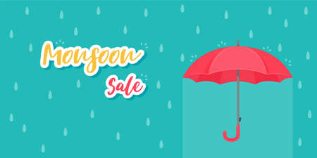 Red umbrella for protection against rain storms during monsoons. Product sale ideas for rainy season 일러스트