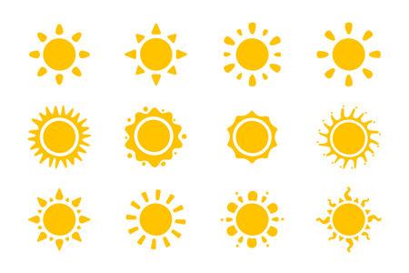 Vector cartoon yellow sun Shining light rays to heat the summer. Isolated on white background. 일러스트