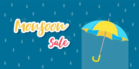 Yellow umbrella for protection against rain storms during monsoons. Selling ideas for rainy season 일러스트