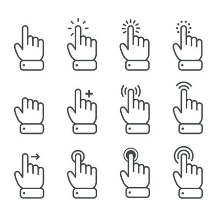 Vector cartoon finger mouse cursor in various gestures for mobile touch screen devices 일러스트