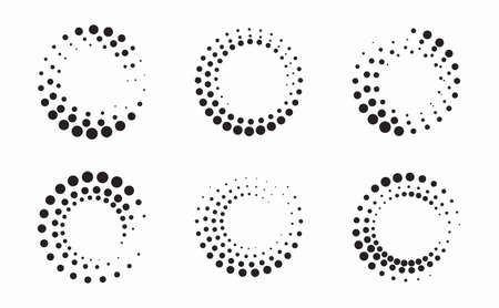 Set of Circle Halftone Frame Effects. A beautiful circular halftone. Isolated on white background. 일러스트