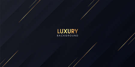 Black gradient abstract background with luxury golden stripes