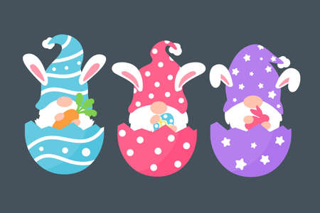Cute gnomes wearing bunny ears hold carrots and colorful eggs in Easter. Isolated on background